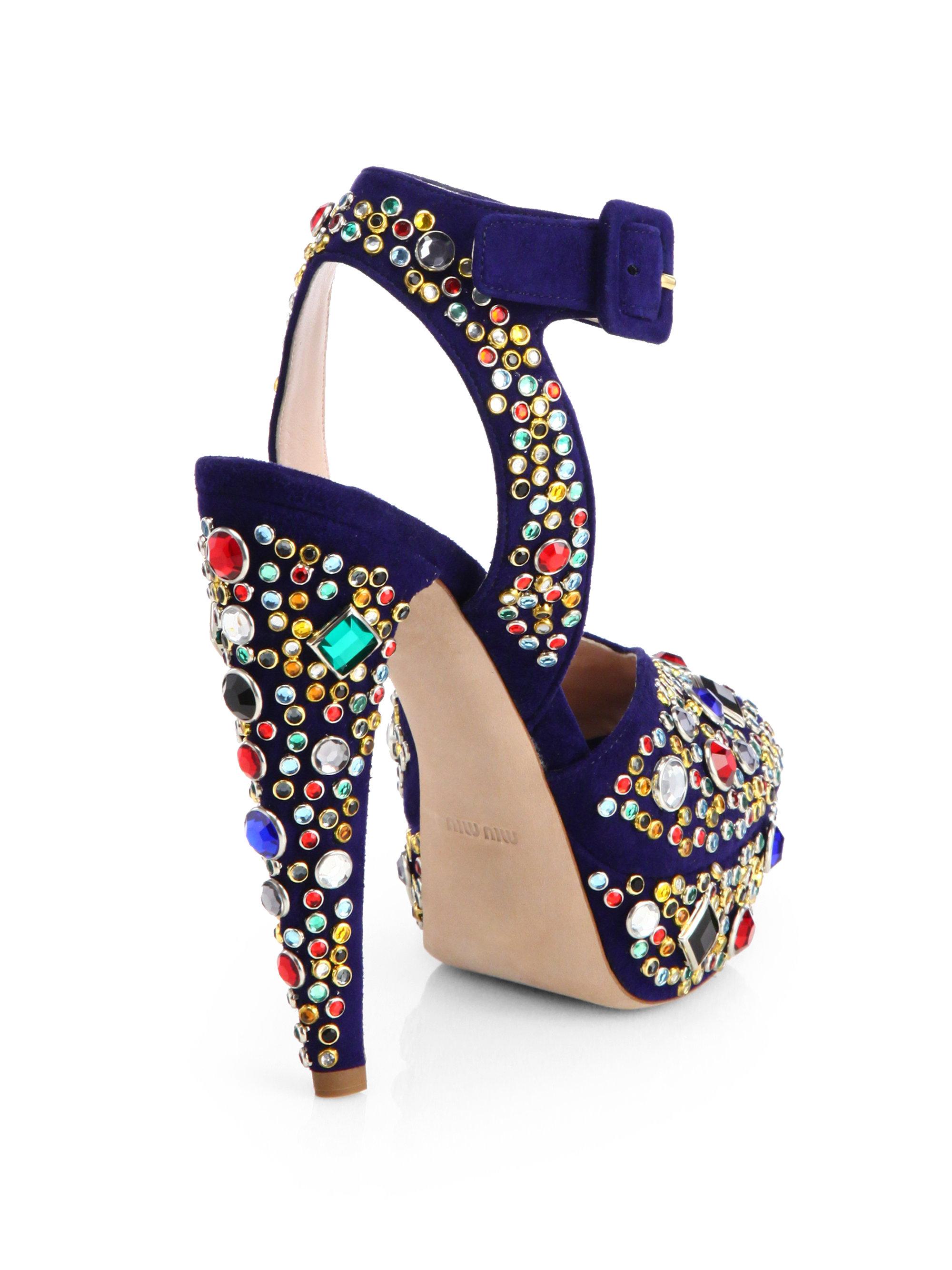 b86368cf544e Lyst - Miu Miu Donna Jeweled Suede Platform Sandals in Blue