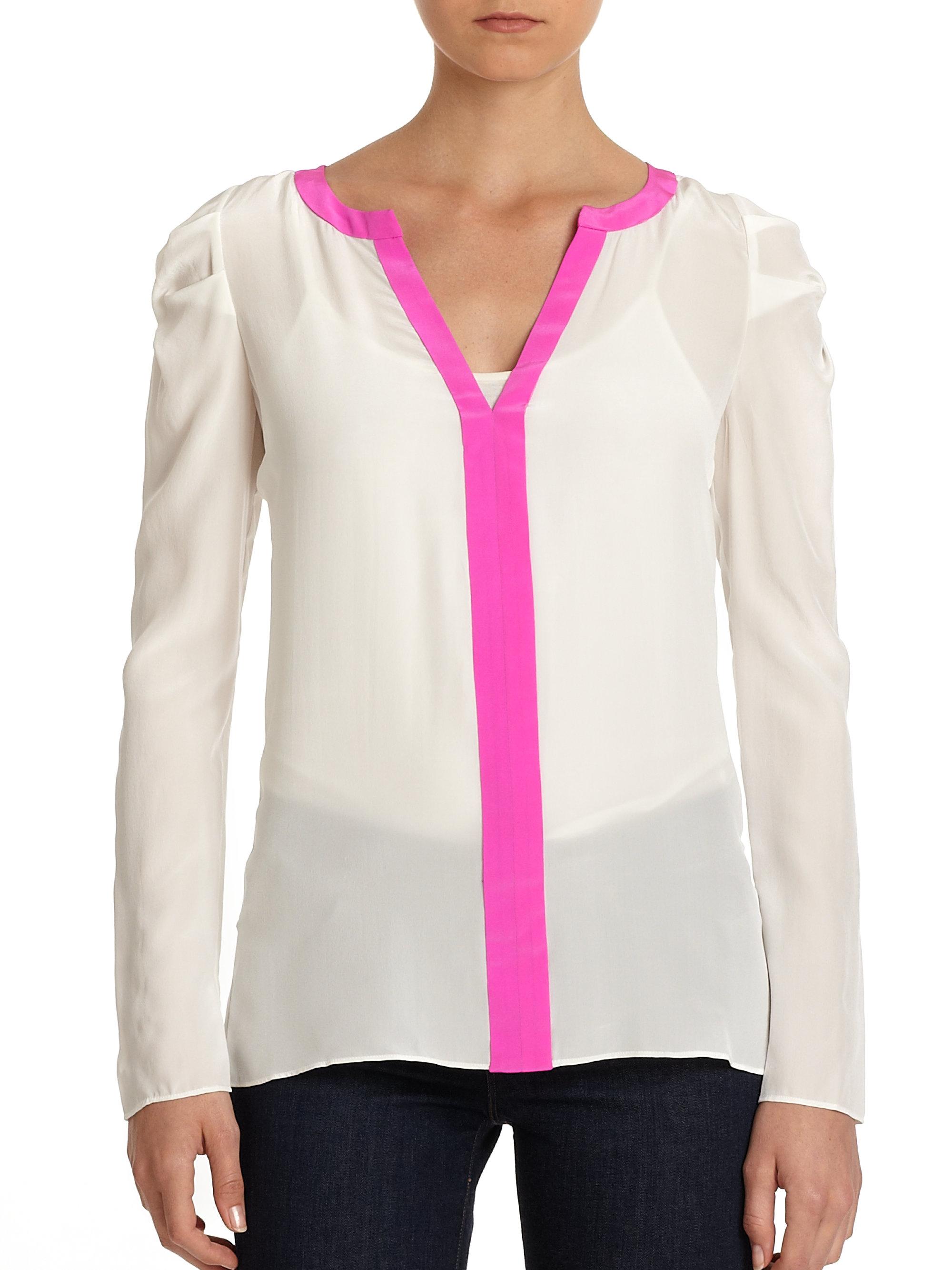 White Silk Blouse Puff Sleeve 22