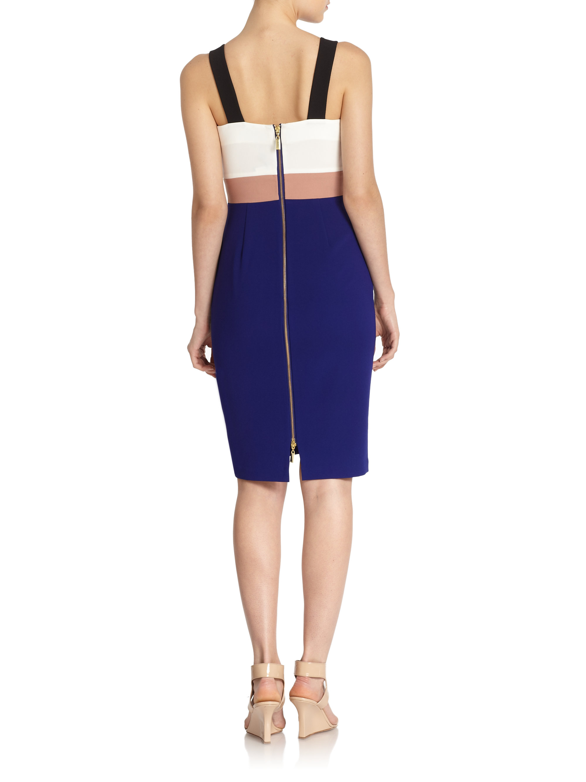 Raoul Genevieve Color Block Eyelet Dress in Blue | Lyst