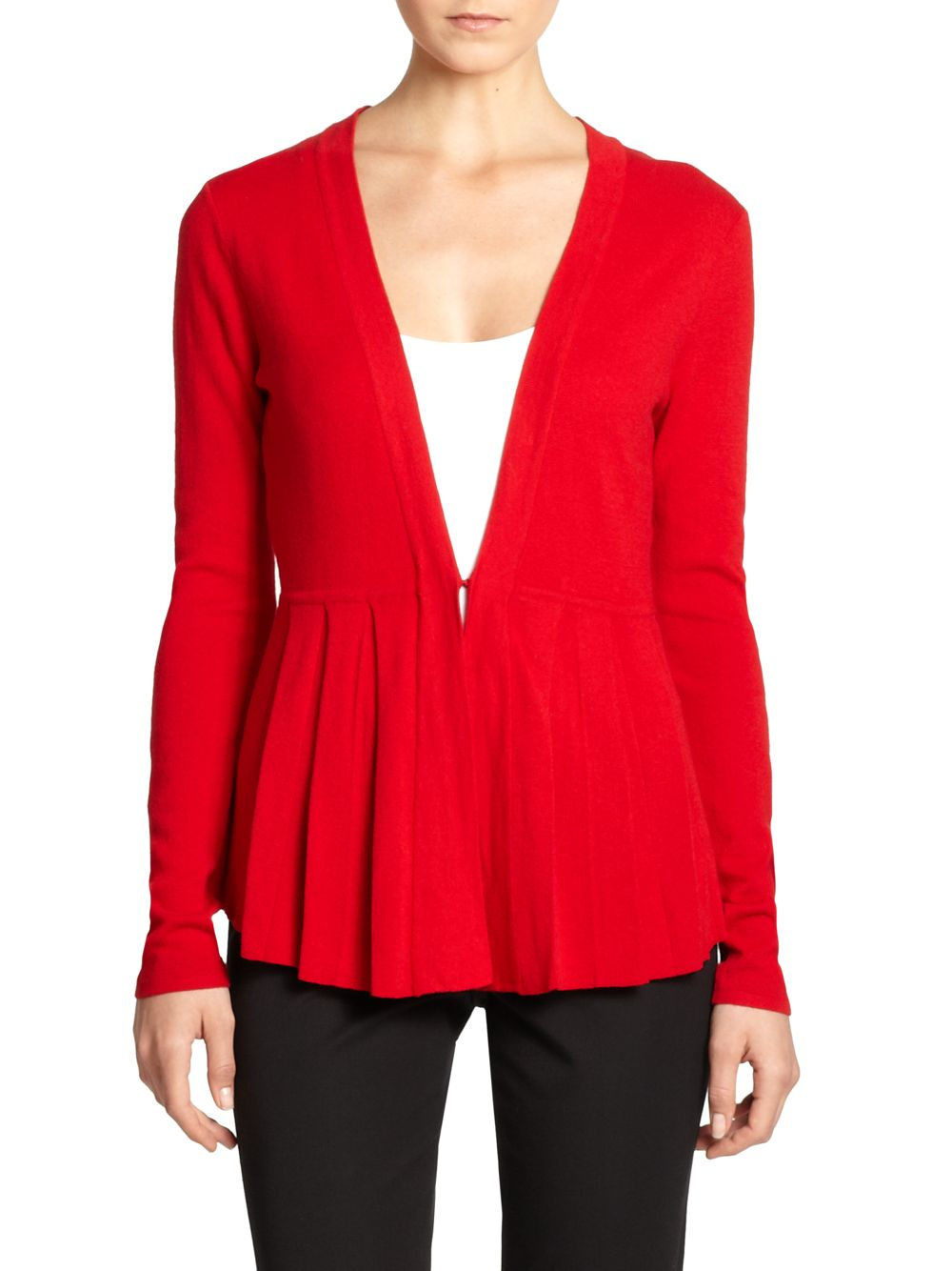 Knitting Pattern Peplum Cardigan : Saks fifth avenue black label Knit Pleated Peplum Cardigan in Red Lyst