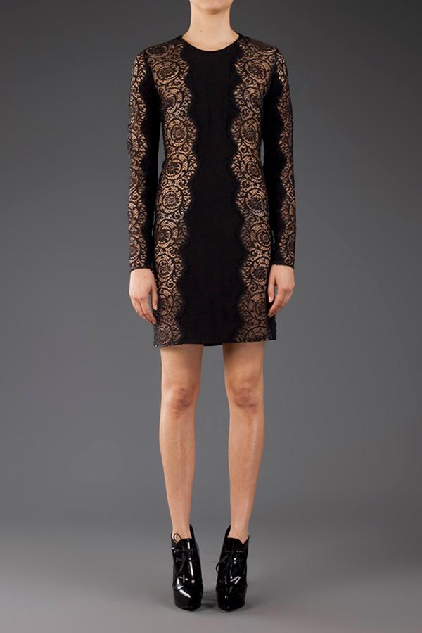 Lyst Stella Mccartney Long Sleeve Lace Dress In Black