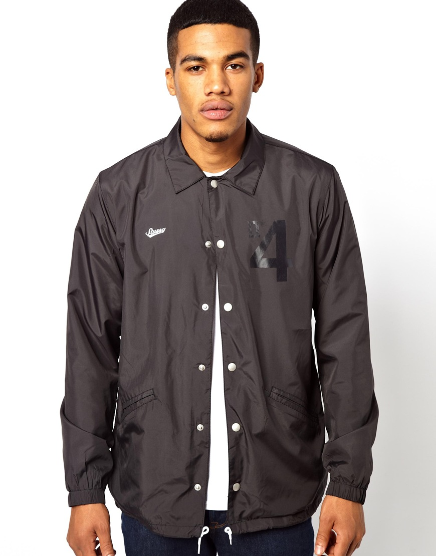 Stussy coach jacket with no 4 logo in black for men lyst for Coach jacket