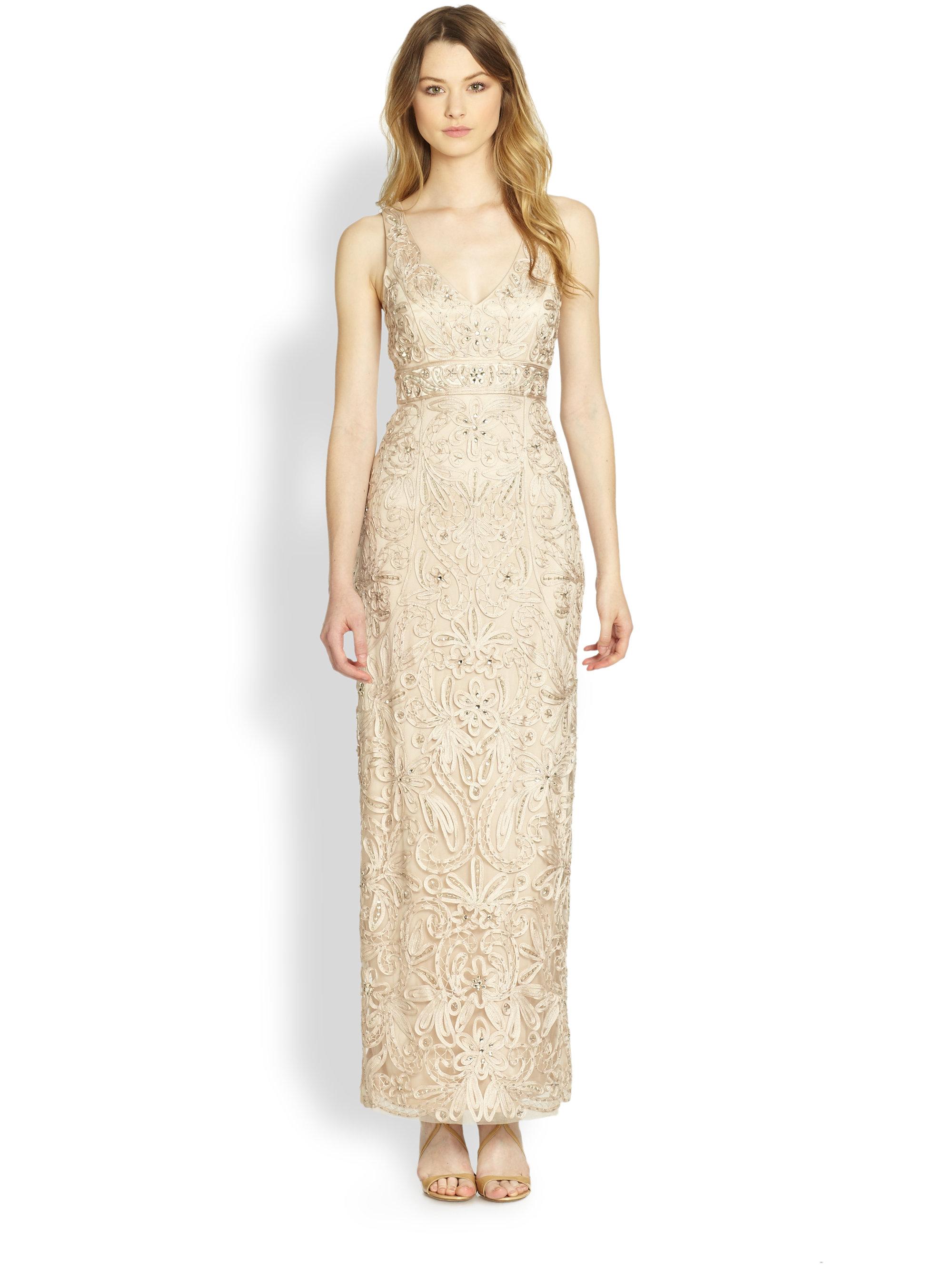Sue wong Long Column Dress in Natural | Lyst