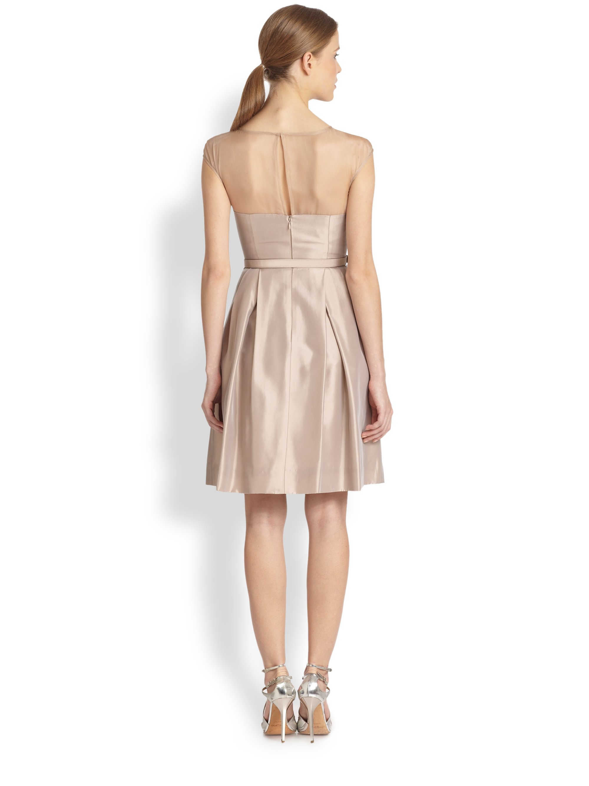 Theia Illusion Cocktail Dress in Natural  Lyst