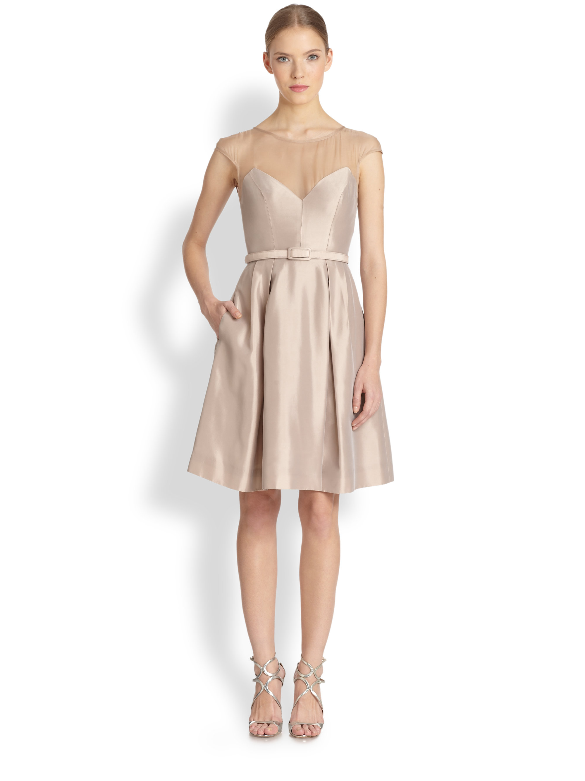 Lyst - Theia Illusion Cocktail Dress in Natural