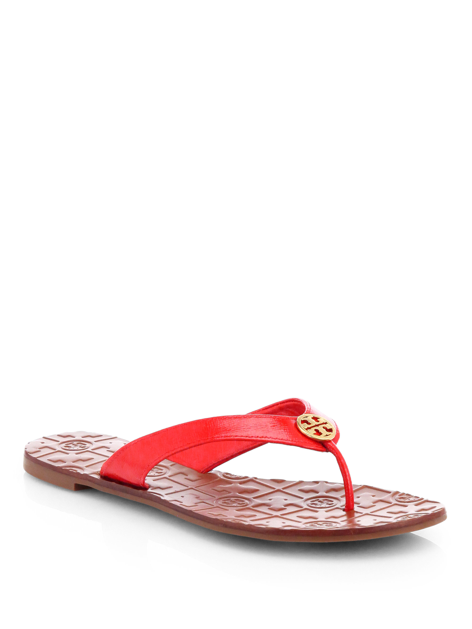 ba31501deae Lyst - Tory Burch Thora 2 Patent Leather Thong Sandals in Red