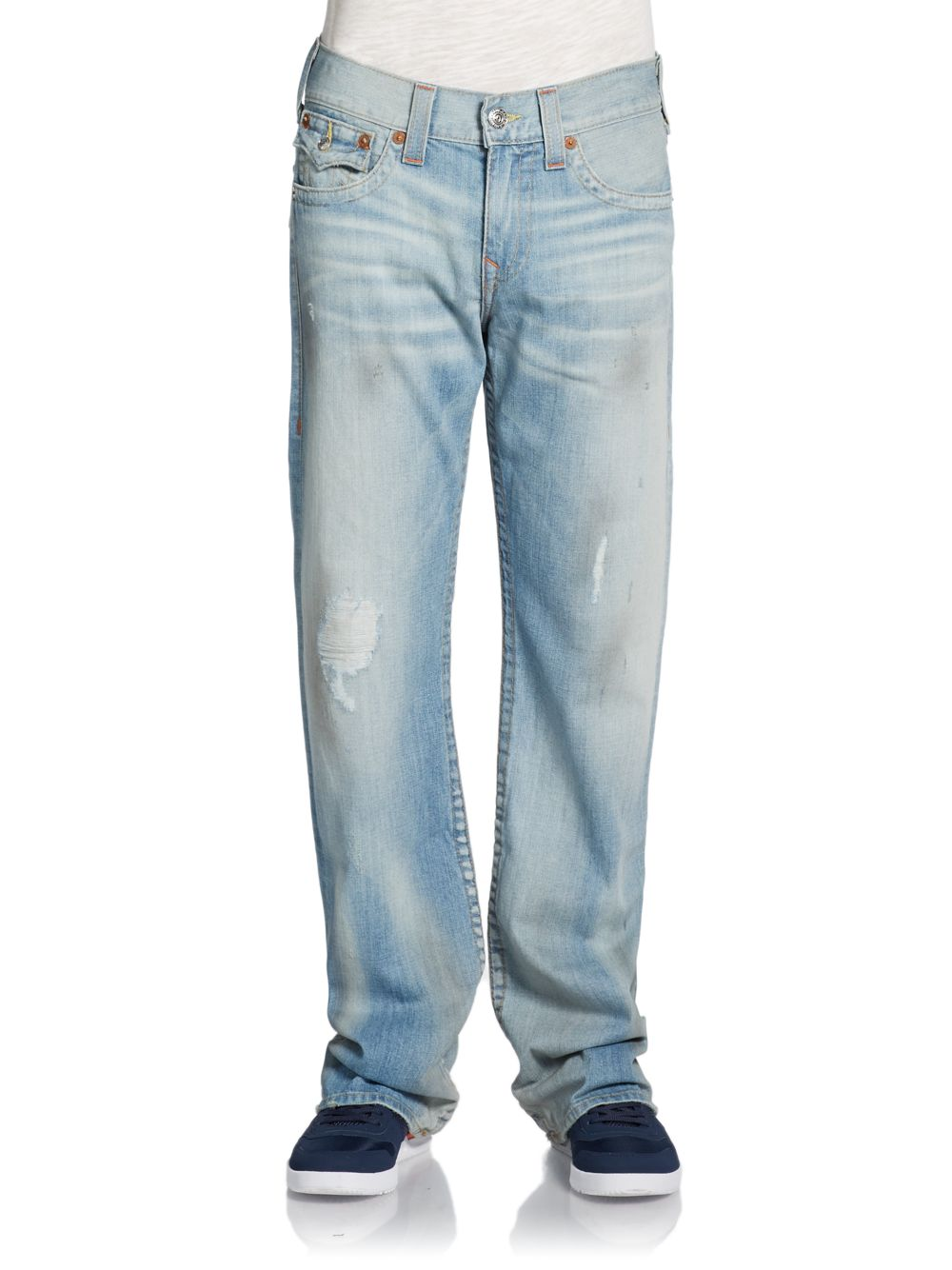 True religion Billy Distressed Bootcut Jeans in Blue for Men | Lyst