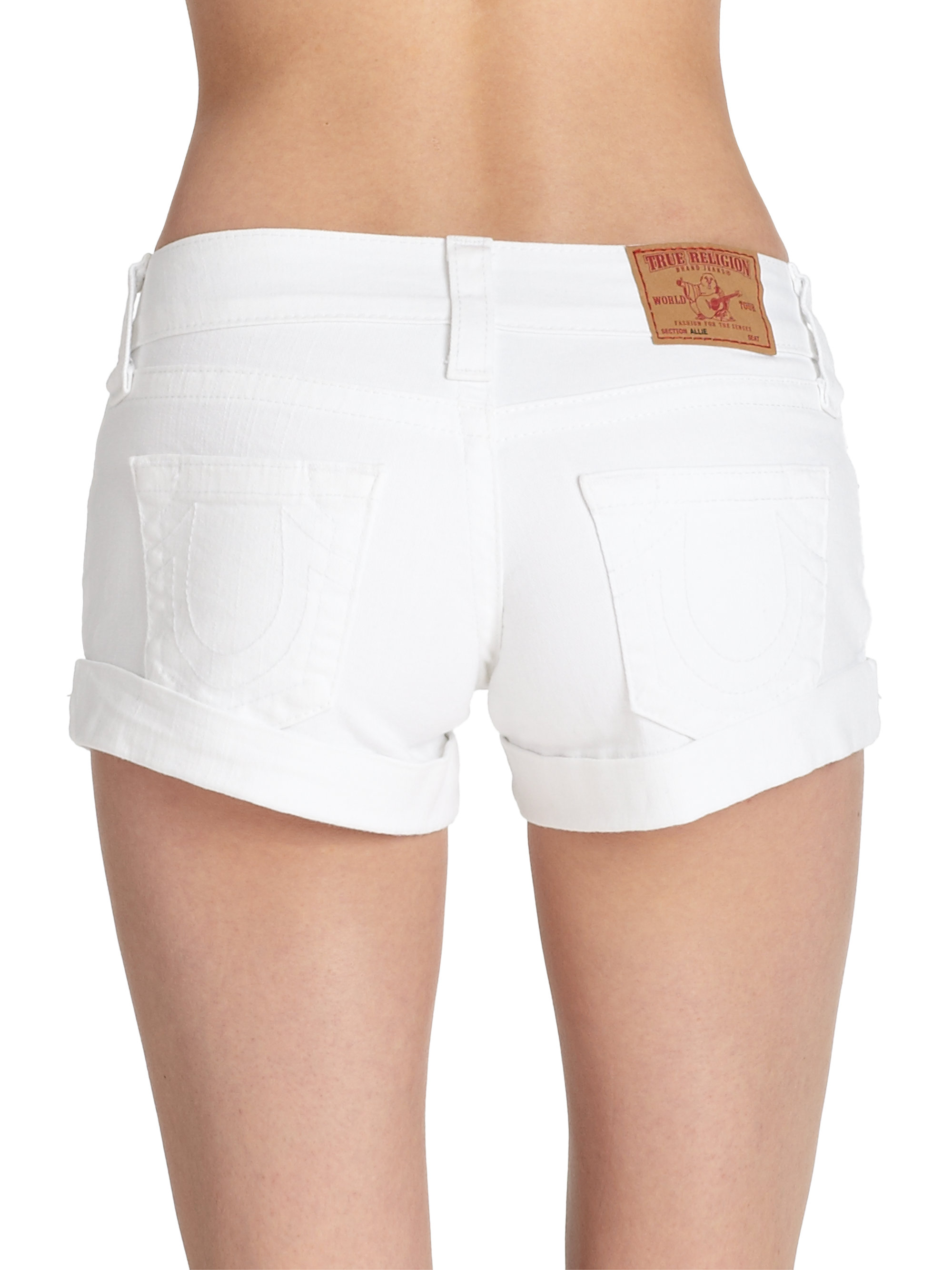 True religion Allie Cuffed Stretch Denim Shorts in White | Lyst