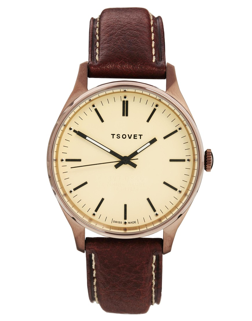 tsovet with brown leather in brown for lyst