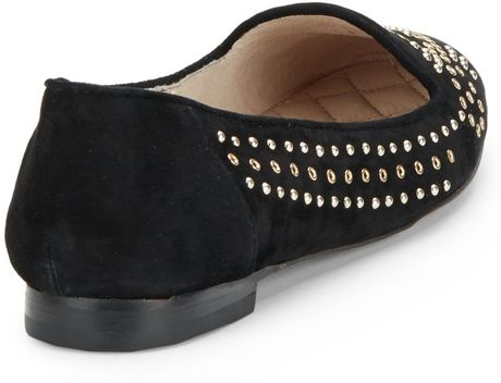 Vince Camuto Lonovan Silvertone Studded Suede Flats In