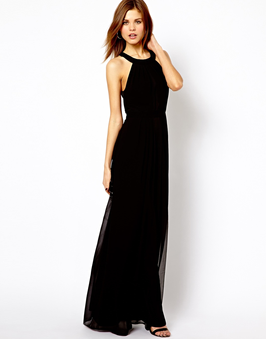 Lyst Asos Warehouse Strappy Back Detail Maxi Dress In Black