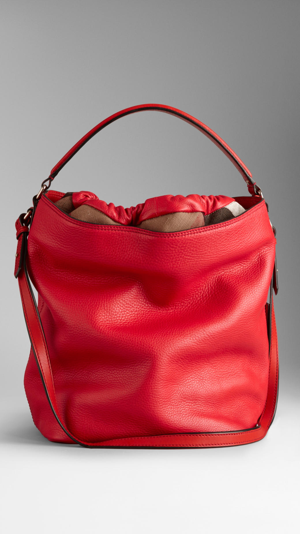 Burberry Medium Brit Check Leather Hobo Bag in Red | Lyst