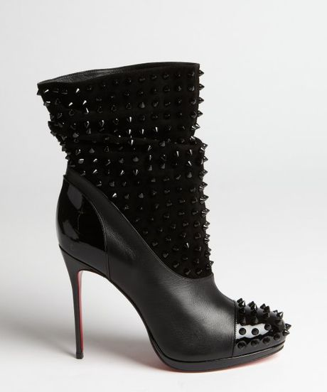 Christian Louboutin Black Suede And Leather Spike Detail