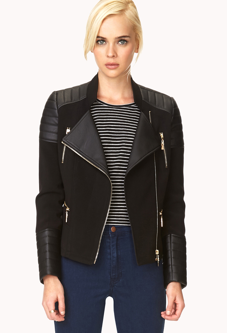 forever 21 black leather jacket ruffle