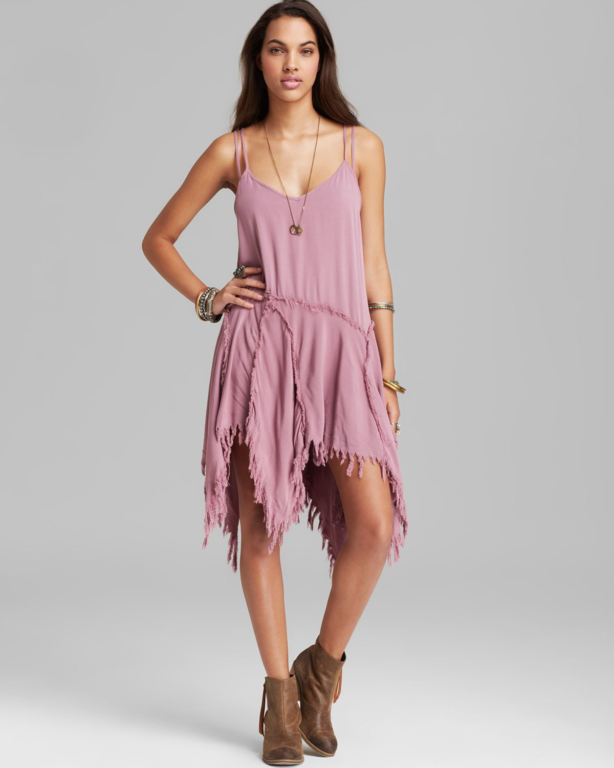 d9ce9704c0bb Free People Slip Dress Tattered Up Shred in Pink - Lyst