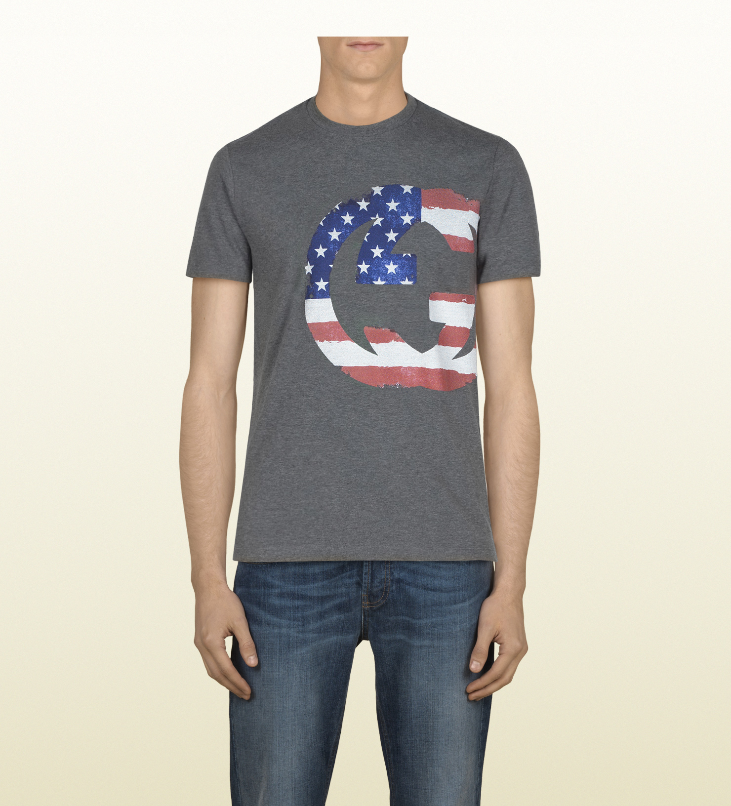 49ac7c0e78675c Lyst - Gucci Mens Usa Gg Flag Collection Tshirt in Gray for Men