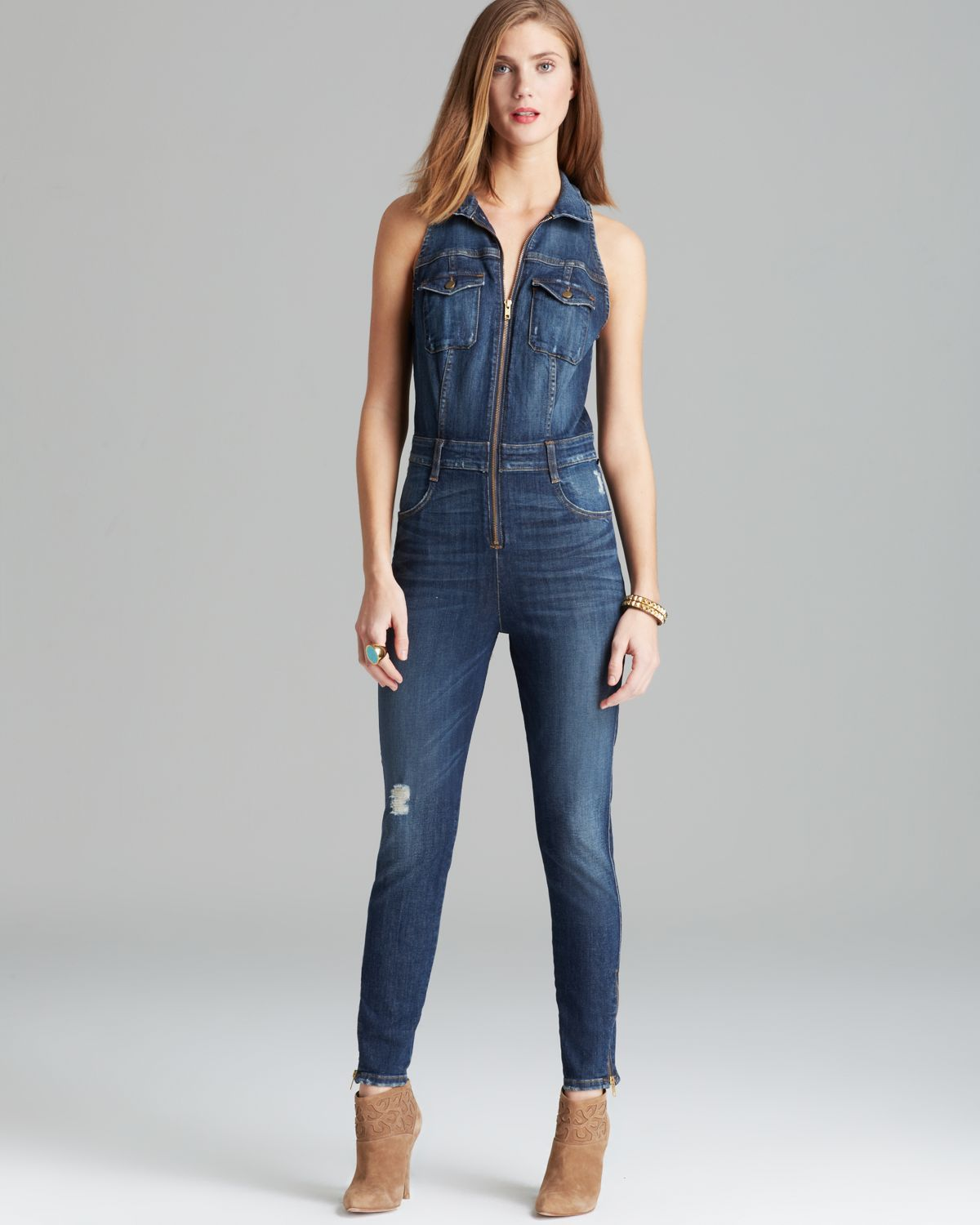 de4bec1a85f Lyst - Guess Jumpsuit Cara Denim in Blue