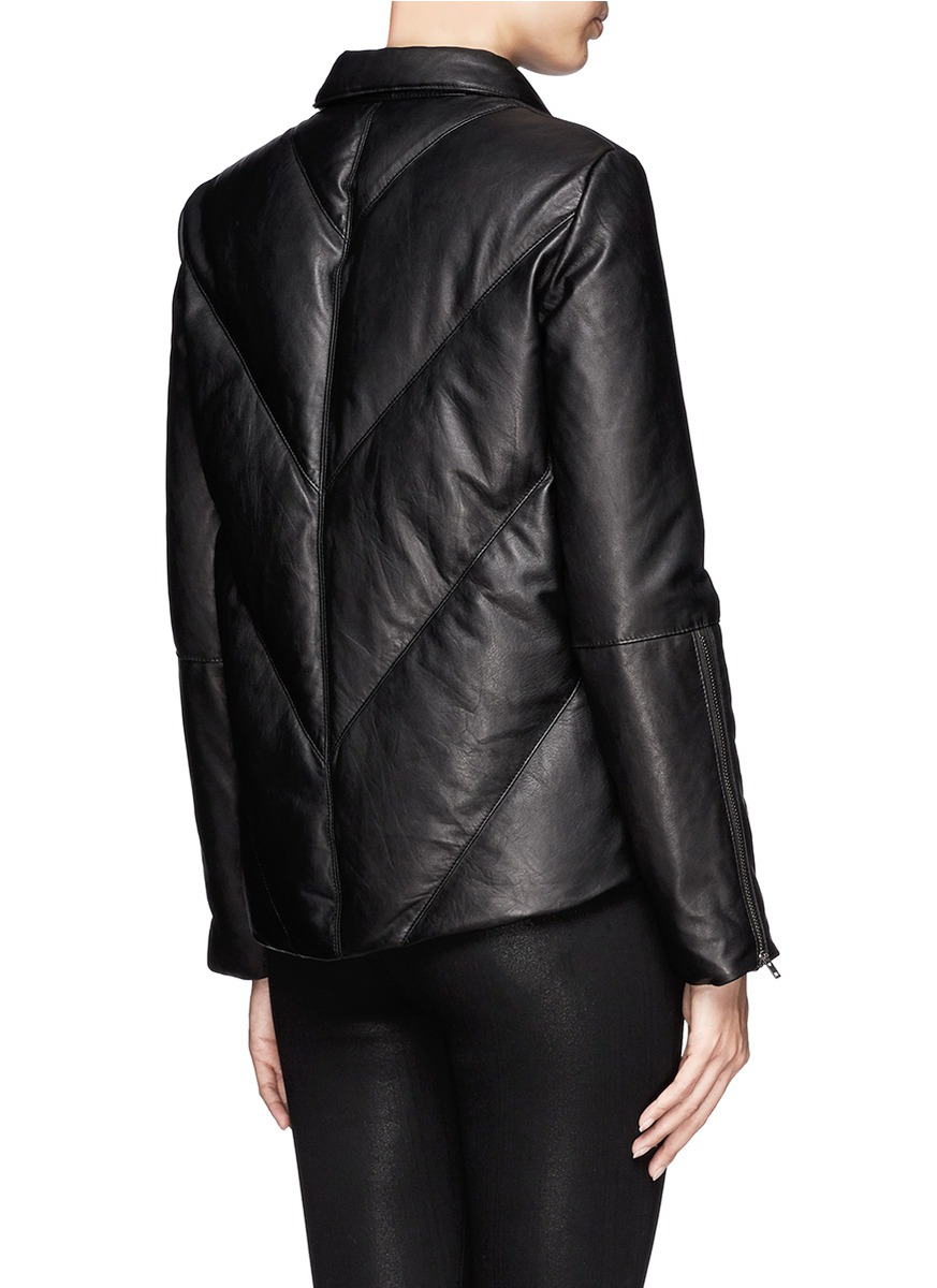 Helmut Lang Leather Puffer Jacket In Black Lyst