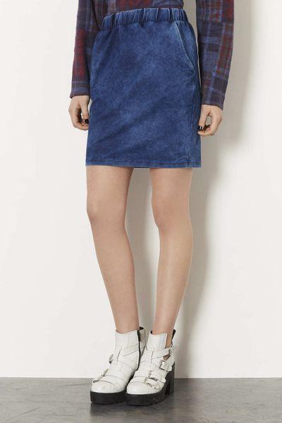 topshop denim look tulip skirt in blue lyst