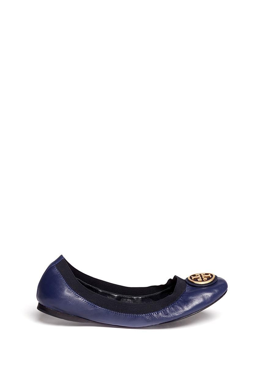401f704af32d ... canada lyst tory burch caroline 2 leather ballet flats in blue 3a256  1125b