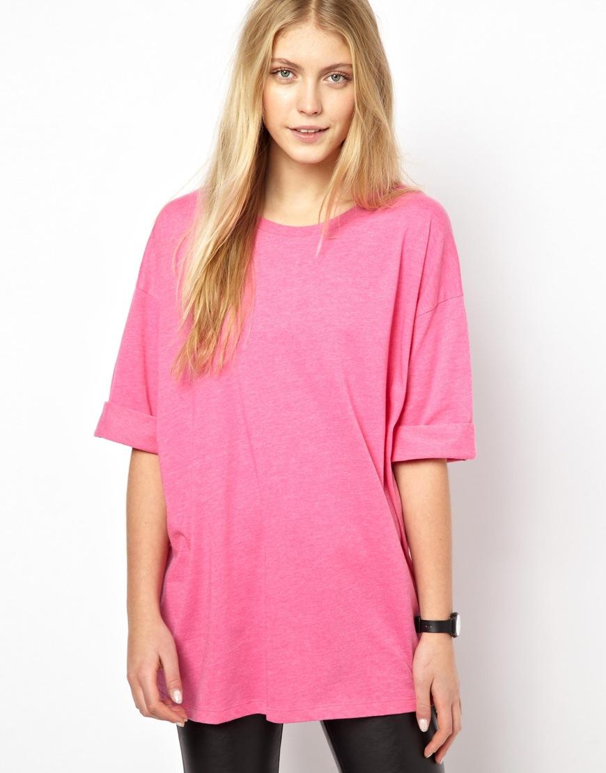 asos oversized tshirt in pink brightpink lyst. Black Bedroom Furniture Sets. Home Design Ideas