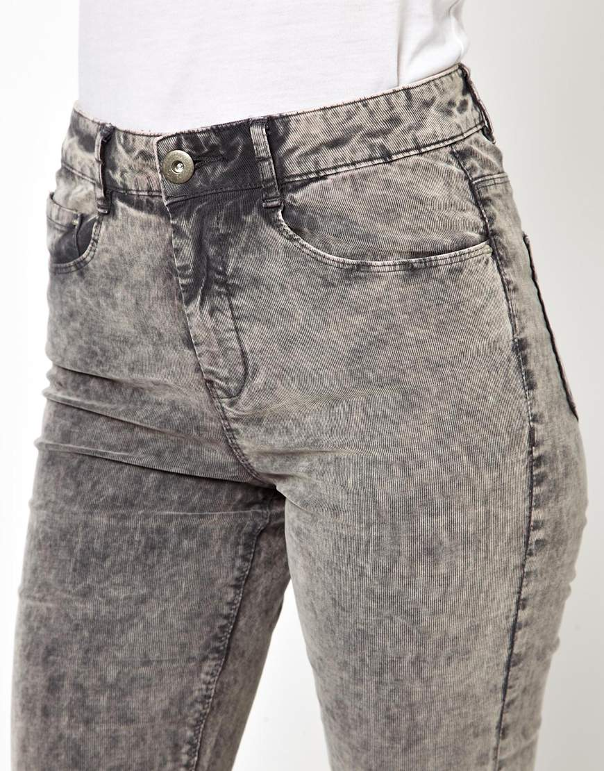 Lyst Asos Ridley High Waist Ultra Skinny Jeans In Grey Acid Wash Cord In Gray