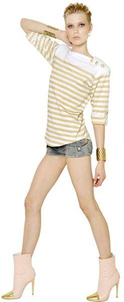 Balmain Striped Lurex Cotton Jersey Top In Yellow White
