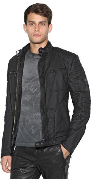belstaff weybridge rubberized jersey jacket in black for. Black Bedroom Furniture Sets. Home Design Ideas