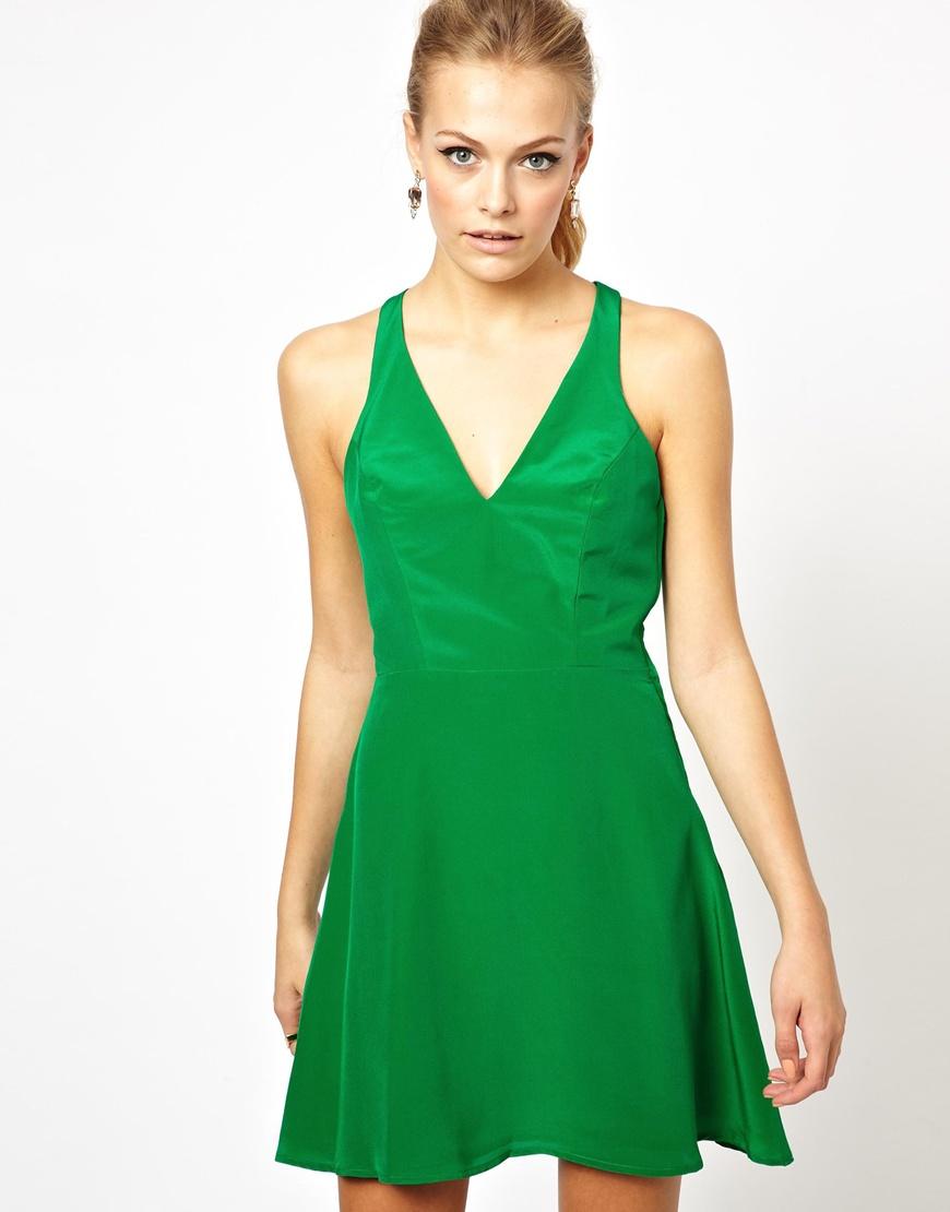 Lyst - Boulee Silk V Neck Skater Dress in Green 4079d1942