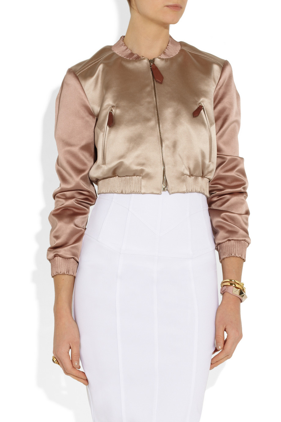 fbc714362f0e Lyst - Burberry Prorsum Cropped Satin Bomber Jacket in Pink