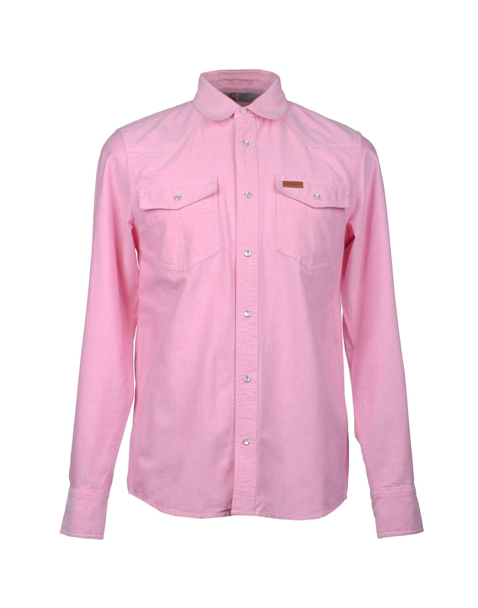 Carhartt long sleeve shirt in pink for men lyst for Mens pink long sleeve shirt