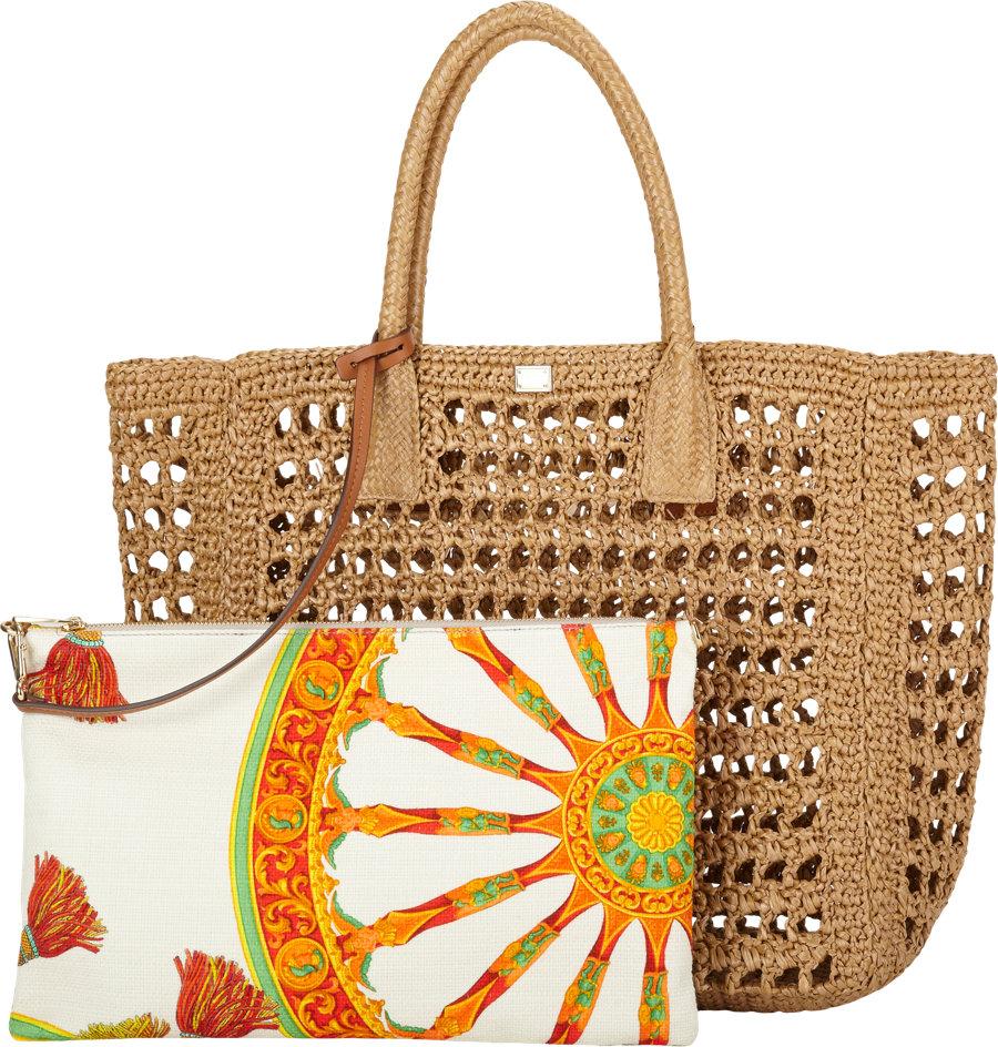 8f4163e03e91 Dolce   Gabbana Raffia Tote in Brown - Lyst
