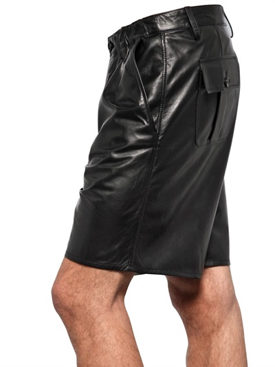 Black Leather Shorts With Six Pockets. Black Leather Shorts With Six Pockets. This is one of our longer pairs of leather shorts coming down to just over the knee, they have been designed as a combat pair of leather shorts which make these a great leather fashion item as opposed to just leather .