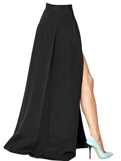 Long Black High Waisted Skirt - Redskirtz