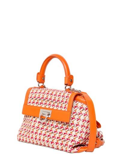 66dfad5818 Lyst - Ferragamo Small Sofia Woven Leather Shoulder Bag in Orange