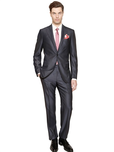 Ferragamo Wool Silk Blend Suit in Blue for Men | Lyst