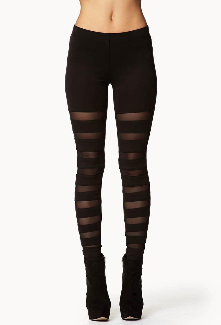 Forever 21 Mesh Stripe Leggings In Black Lyst