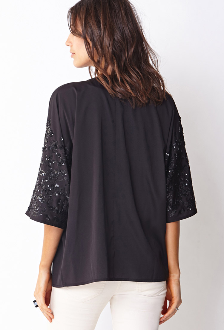 Forever 21 Contemporary Sequined Kimono Cardigan in Black ...
