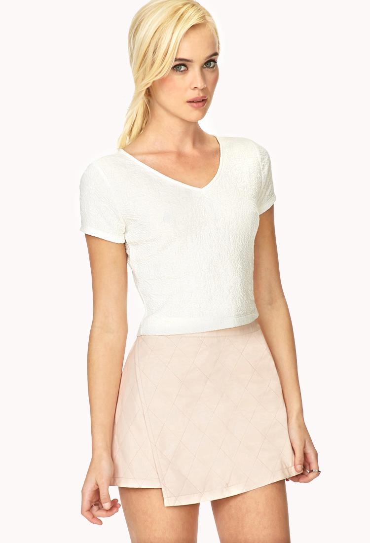 Forever 21 Favorite Matelessé Crop Top in White | Lyst