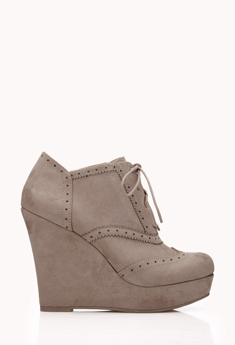 Forever 21 Fresh Brogue Booties In Gray (Taupe) | Lyst