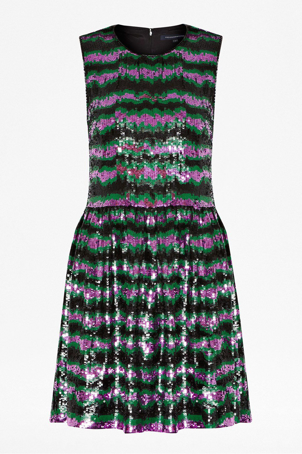 French Connection Siberian Stripe Sequin Dress In