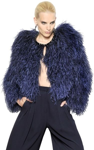 Givenchy Jewelled Ostrich Feather Fur Jacket In Blue