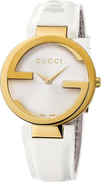 gucci ladies interlocking goldtone white watch in white