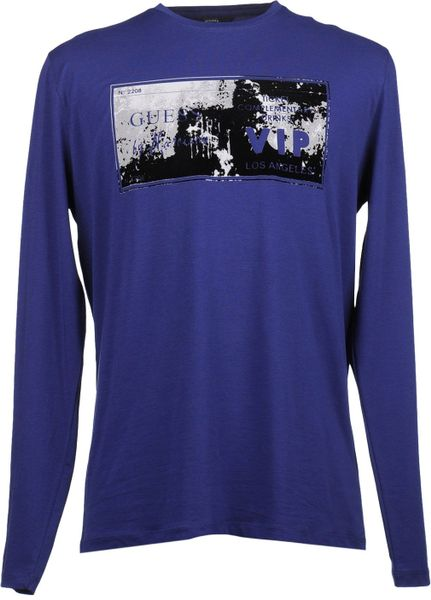 Guess Long Sleeve Tshirt In Blue For Men Lyst