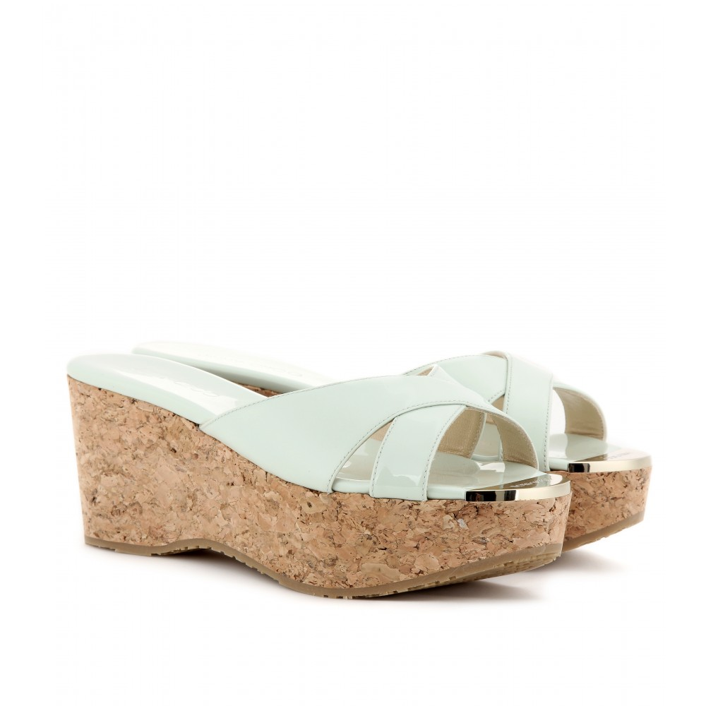 jimmy choo prima patentleather cork wedge sandals in green
