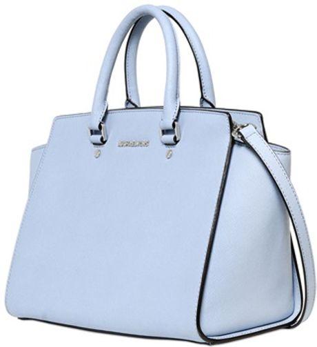 michael michael kors selma saffiano leather top handle in blue light. Black Bedroom Furniture Sets. Home Design Ideas