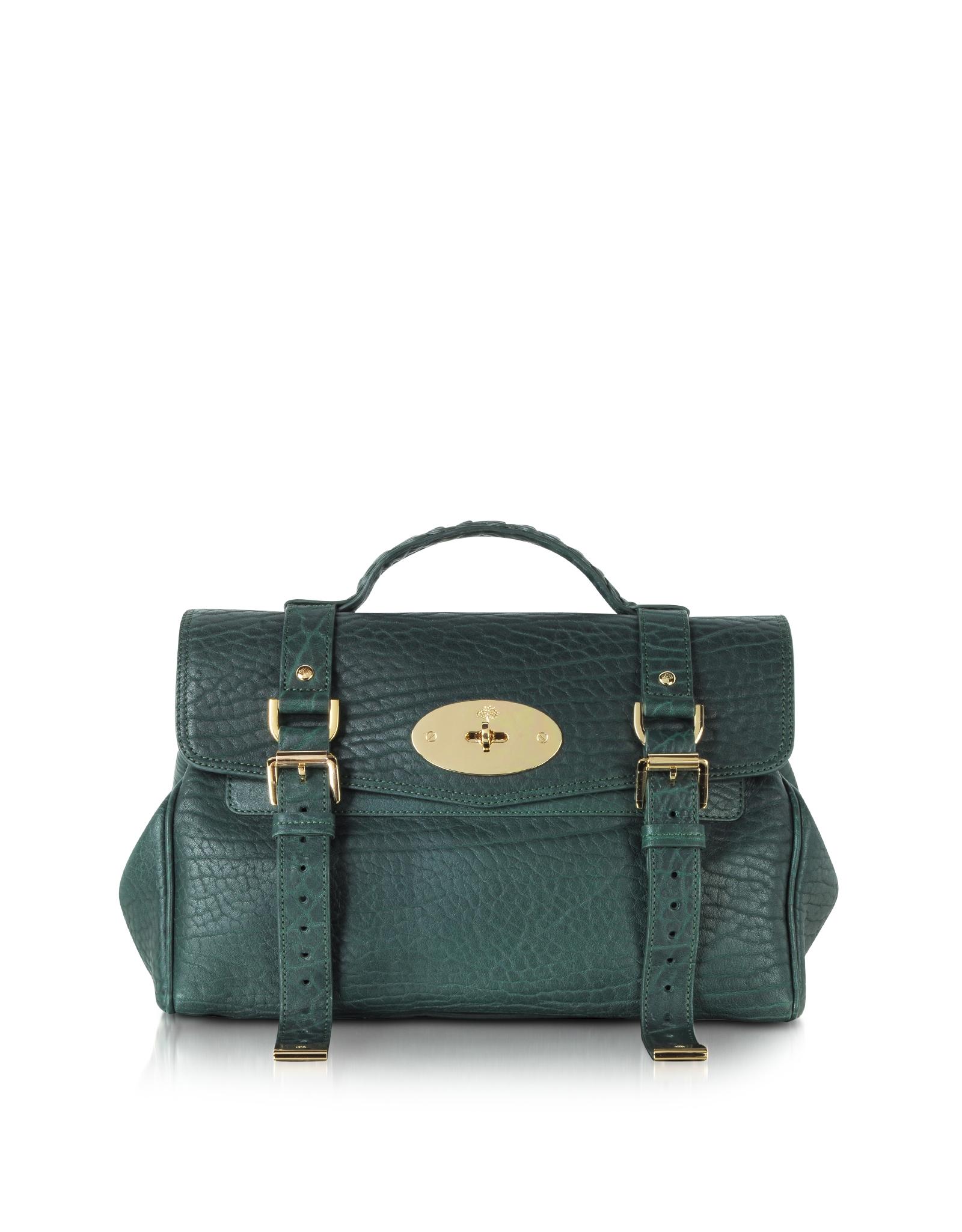 Mulberry Alexa Shrunken Calf Leather Satchel Bag in Green | Lyst