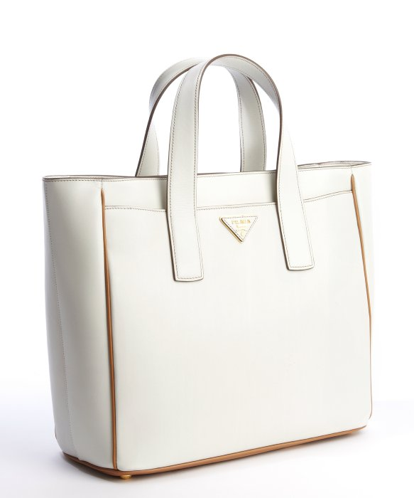 Prada Talc and Caramel Leather Small Square Tote Bag in White ... - prada galleria bag white + black + caramel