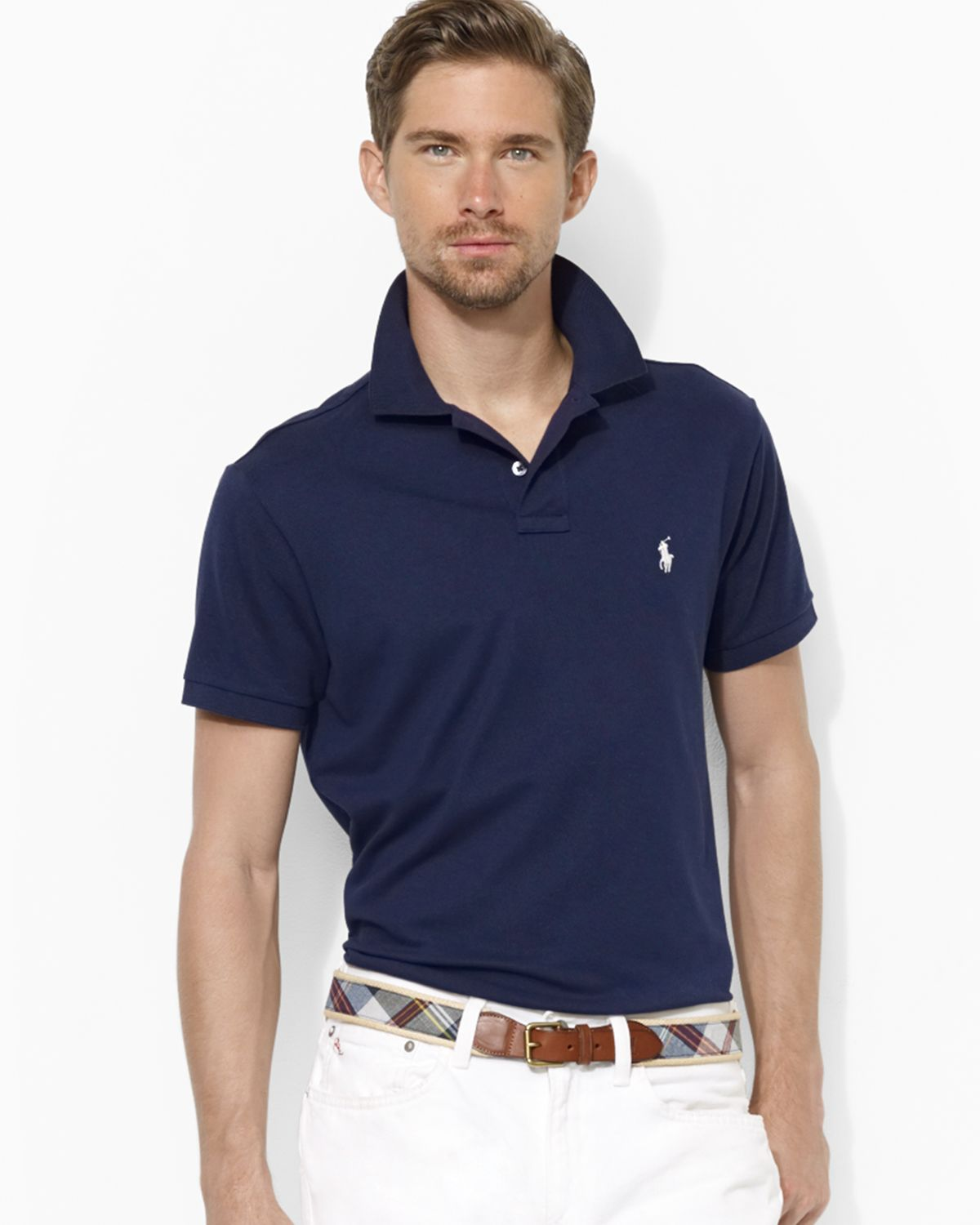 Lyst ralph lauren polo customfit stretchmesh polo shirt Man in polo shirt