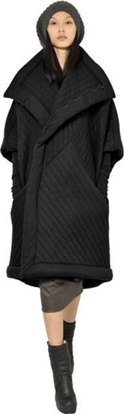 Rick Owens Quilted Padded Viscose Wool Jersey Coat In